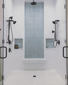 If we were ever designing a shower from scratch, this masterpiece would be high on our list! The in stock Mahlia II pattern beautifully… Master Bathroom Shower, Upstairs Bathrooms, Shower Walls, Shower Remodel, Bath Remodel, Shower Accent Tile, Tile Accent Wall, Cement Tiles Bathroom, Moroccan Tile Bathroom