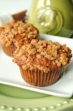 Banana Muffins with Crumble Topping   1/3 cup light brown sugar   1/4 cup all-purpose flour   1/2 teaspoon ground cinnamon   1 tablespoon butter, melted Directions: In a small bowl, use a fork and mix together the brown sugar, flour, cinnamon and butter until crumbly. Sprinkle over the muffin batter. Place muffins in the oven and bake for required time.