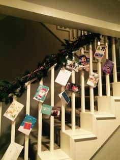 Christmas cards on the staircase railing ❤️