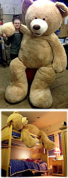 Hug it every day and share your special moments, this giant teddy bear will have a huge space in your heart. and in your room. Costco Bear, Giant Teddy Bear Costco, Huge Teddy Bears, Jumbo Teddy Bear, Giant Stuffed Animals, Bear Mask, Crochet Teddy, Heart, Teddybear