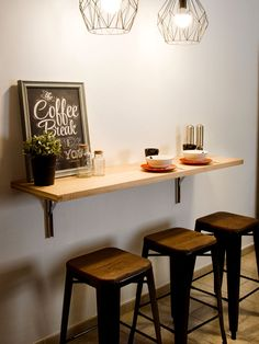 The Best Kitchen Table Bar Design Ideas Coffee Bar Home, Home Coffee Stations, Home Bar Counter, Cafe Counter, Table Bar, Small Bar Table, Diy Bar, Cafe Interior, Interior Design
