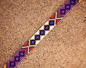 Friendship Bead Loom Bracelet Bohemian Boho Artisanal Jewelry Indian Western Beaded Turquoise Red Yellow Orange Bright Colorful Tribal