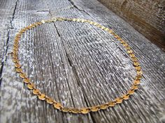 14K Gold Filled Disc Chain Choker Necklace / Gold Filled Flat Gold Choker Necklace, Chokers, Flat, Chain, Unique Jewelry, Handmade Gifts, Etsy, Vintage, Kid Craft Gifts