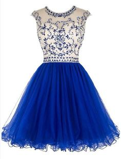 Sexy Open back Royal Blue Short Tulle homecoming prom dresses The Sexy Open back Royal blue tulle homecoming dresses are fully lined, 8 bones in the bodice, chest pad in the bust, lace up back or zipp