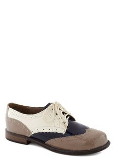 """Gasp! I hate the """"vegan leather"""" description, but these are fabulous! Era of Individuals Flat in Taupe, #ModCloth"""