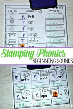 "Phonics fun in a stamping center! Students love using the stamps to create words. This has always been one of my class favorite activities.   This unit will cover beginning sounds. Students will listen for the first sound they hear and stamp the beginning letter. (Exception is ""x""... that will be the ending sound).  I can cards are included to help with student independence."