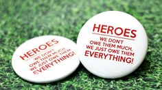 Customer buttons with a message: Hero tribute pinbacks for 100th Anniversary of Vimy Ridge. Great idea for Remembrance Day and Veterans Day too.   http://peoplepowerpress.org/blogs/news/buttons-with-simple-text-design-for-100th-anniversary-of-vimy-ridge
