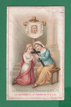 """VERONICA VEIL HOLY FACE """"DEVOTION TO OUR LORD PASSION"""" Antique TURGIS HOLY CARD"""