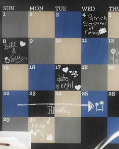 If you thought chalkboards were just for schoolrooms, think again. These wipe-off writing surfaces make handy helpers around the home, too. Small Bathroom Organization, Dorm Room Organization, Organization Hacks, Organizing, Paint Calendar, 2016 Calendar, Diy Chalkboard Paint, Chalk Paint, Paint Meaning