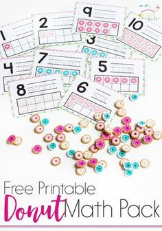 Do you love Dollar Spot mini erasers? This donut mini-eraser activity pack for preschoolers is full of great math activities! Counting, sorting, matching, patterns and more! via @lifeovercs