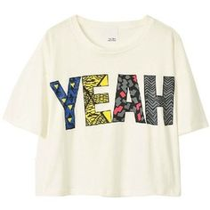 White Crop Top with 'YEAH' Print