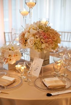 pink and cream with hints of gold centerpieces. these were almost my wedding colors, since my dress's ribbon could have been a dusty rose. Pink And Gold Wedding, Gold Wedding Theme, Wedding Table, Wedding Events, Our Wedding, Wedding Flowers, Dream Wedding, Weddings, Wedding Ideas