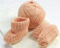Baby booties Pattern format in Portuguese knitting Which is just knit & purl in the front of the work instead if behind