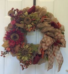 Fall burlap wreath Fall/Autumn wreath front by ShellysChicDesigns