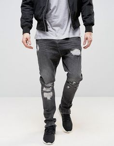 ASOS Drop Crotch Stacker Jeans With Rips In Washed Black