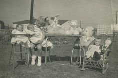 Why were doll faces so CREEPY in the early 1950's? The alien furry creature third from right is a textbook example!