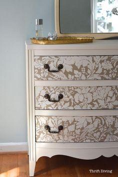 Elegant White and Gold Stencil