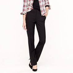 JCrew - Petite stovepipe trouser in stretch wool - Black and Navy - $178