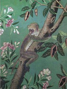 hand painted wallpaper hand paint, monkey wallpaper