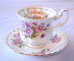 Royal Albert Teacup and Saucer Flower of the Month September Michaelmas Daisy in Purple by CandyAppleCrafts