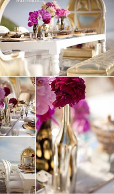 White and gold with fuschia accents