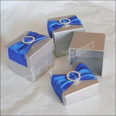 Silver Favor Box Two Piece Blue Ribbon By Jaclynpetersdesigns