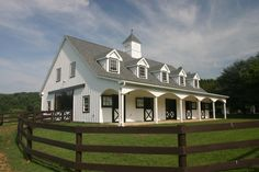 6 horse stalls, wash stall, tack room, grain room, laundry room, bathroom, full length front porch, 2 bedroom apartment