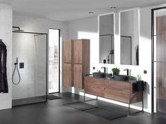 Inspirerende trends: warme houtsoorten zoals notelaar, dampwerende spiegels. Ook frames doen hun intrede, in combinatie met meubelen en inloopdouches. Zwart kraanwerk en accessoires zorgen voor de finishing touch! Exclusief verdeeld door X2O. #Balmani #X2O #frames #zwart kraanwerk #zwarte eik Bathroom Layout, Bathroom Interior, Dream Rooms, House Design, Mirror, Interior Design, Inspiration, Furniture, Serein