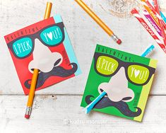 Funny Nose Picking Valentines Classroom Pencil Holder or pixie stick holder card.  Great for boys or girls that are not into mushy valentine's day.  Humorous, cute, easy, DIY Nose Mustache Valentine cards