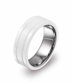 This solid white ceramic ring is beautifully crafted with two fine parallel groovings, completely scratch resistant and hypo-allergenic. Guaranteed to retain its high polish forever. You'll look so cool with it that will sure get attention and compliments from your counterparts.