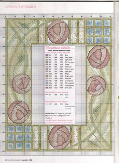 Gallery.ru / Фото #53 - 135 сентябрь 2006 - anfisa1 Cross Stitch Boards, Cross Stitch Rose, Cross Stitch Flowers, Art Nouveau, Art Deco, Cross Stitch Designs, Cross Stitch Patterns, Cross Stitching, Cross Stitch Embroidery