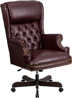 Flash Furniture CI-J600-BY-GG High Back Traditional Tufted Leather Executive Office Chair, Burgundy