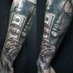 Hot Money Sign Tattoo Designs For Men - Best Money Tattoos: Cool Money Bag, Dollar Sign, Cash Stack, and Monopoly Man Money Tattoo Designs and Ideas Money Lei, Chicano, Money Sign Tattoo, Tattoos For Guys, Cool Tattoos, Men Tattoos, Tattoos Pinterest, Realistic Rose Tattoo, Coin Design