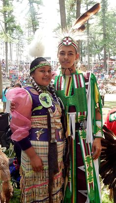 Jingler and her fiance...both of the Menominee Indian Tribe of Wisconsin. Taken at the Menominee Nation Contest Pow Wow, Woodland Bowl, Keshena WI