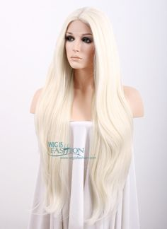 """20"""" / 28"""" Long Straight Platinum Blonde Lace Front Synthetic Hair Wig LF150D - Wig Is Fashion"""