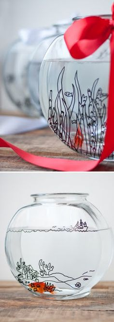 A cute gift idea! Customize a fishbowl with these (free!) downloadable doodles. #DIY