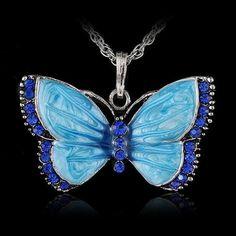 Dazzling Rhinestone Butterfly Necklace
