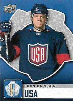2016 Upper Deck - World Cup of Hockey John Carlson Front Hockey Cards, Baseball Cards, Hockey World Cup, Washington Capitals, Trading Card Database, Upper Deck, Hockey Players, Ice Hockey, Nhl