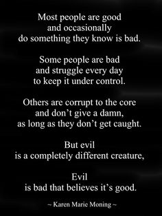 """Most people are good and occasionally do something they know is bad. Some people are bad and struggle every day to keep it under control. Others are corrupt to the core and don't give a damn, as long as they don't get caught. But evil is a completely different creature, Mac. Evil is bad that believes it's good."" ― Karen Marie Moning, Shadowfever"