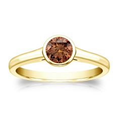 Auriya 14k Gold 1/3ct TDW Bezel Round Cut Brown Diamond Solitaire Engagement Ring (Brown, SI1-SI2) (Yellow Gold - Size 7), Women's