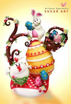 Torta di Pasqua Coniglio e Gallinella - Arianna Sperandio Sugar Art