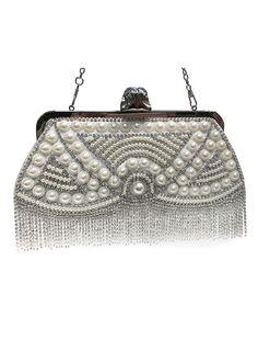 Sacs à main Sacs-pochettes fête mariage Vintage Hangbags blanc frange perle perles - boutique.milanoo