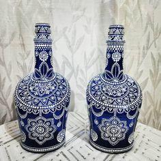 Blue Bottle, Just Love, Bottles, Mandala, Dots, Pairs, Shapes, Antiques, Painting