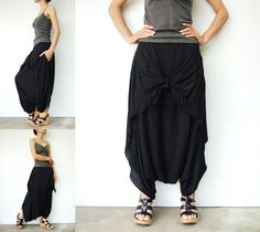 NO.86 Black Cotton Jersey Cool Unique Asymmetric Casual Loose Novelty Harem Pants Trendy Unusual Trousers, via Etsy.