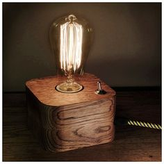 Lámpara de Edison lámpara Wood madera lámpara de por MasterWoodUA