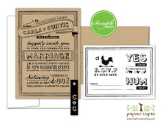 Chalky - quirky wedding invitation, eco friendly, kraft paper, black tag, mix & match, affordable - SAMPLE. $2.00, via Etsy.