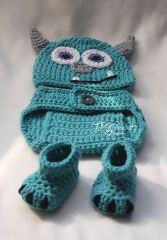 Monster-Hut häkeln und Windel-Cover-Set Muster. 0-3 von TMKCrochet