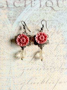 Items similar to Drop of Chrysanthemum Earrings on Etsy Chrysanthemum, Truffles, Crochet Earrings, Cherry, Drop, Trending Outfits, Couture, Unique Jewelry, Handmade Gifts
