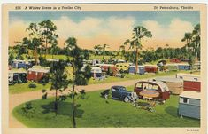 Old Trailer Park Pictures | 1937A Winter Scene in a Trailer CitySt. Petersburg, FloridaS35; 7A ...
