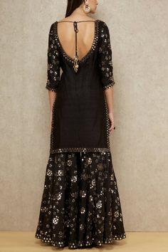 Black embellished sharara set - Abhinav Mishra - Designers